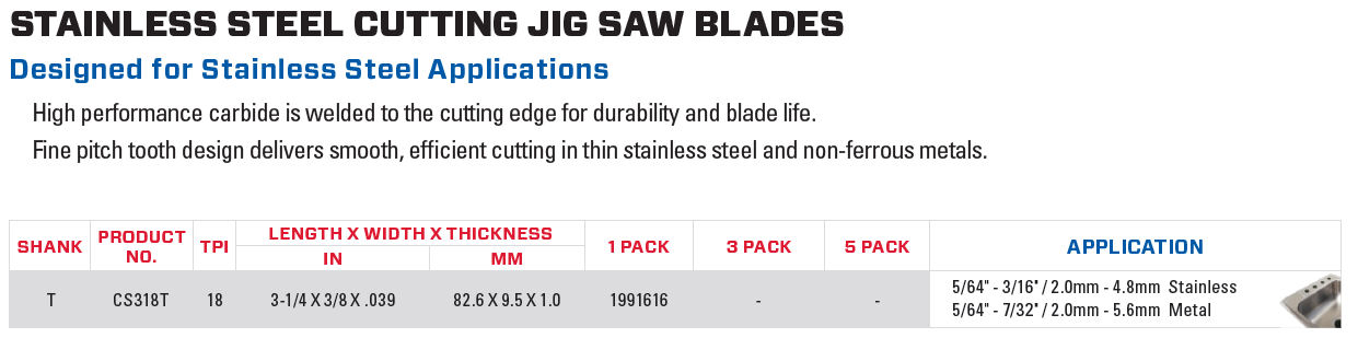 Lenox Stainless Steel Cutting Jig Saw Blades