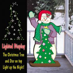 Waving Lighted Snowman